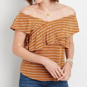NWT Maurices Ruffled Stripe Criss Cross Top